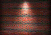 abstract old brick wall in the dark with spotlight warm light tone. brick wall in empty room. brick wall background for wallpaper