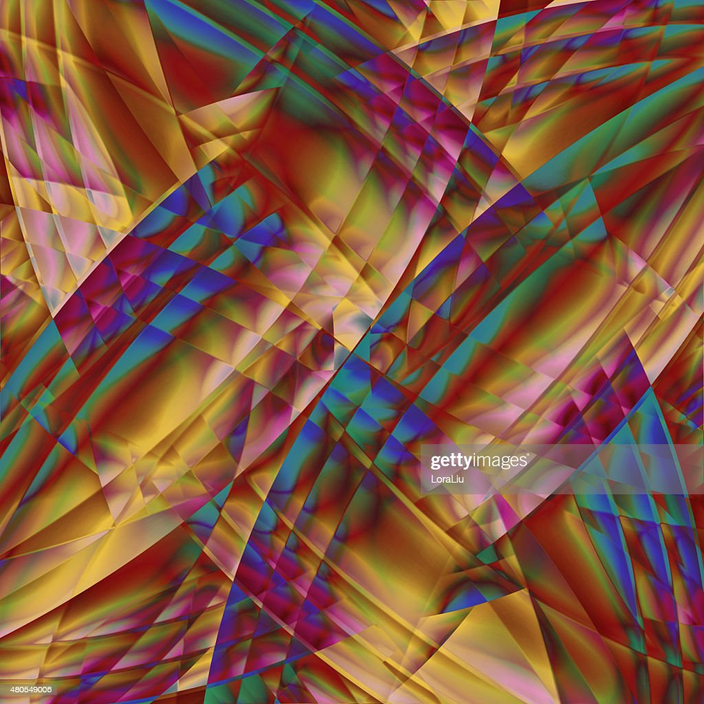 Abstract old chaotic pattern with colorful translucent curved : Stock Photo