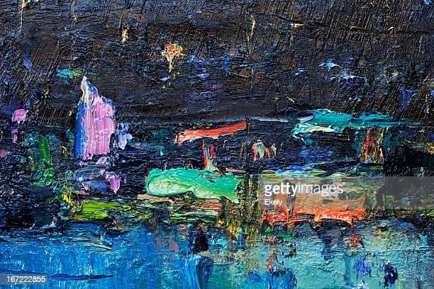 Dipinti astratti blu intenso, verde e viola sfondi di arte.