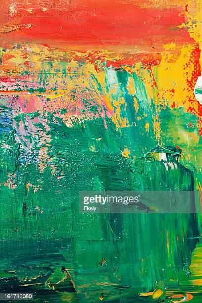 Astratto dipinto sfondo verde d'arte.