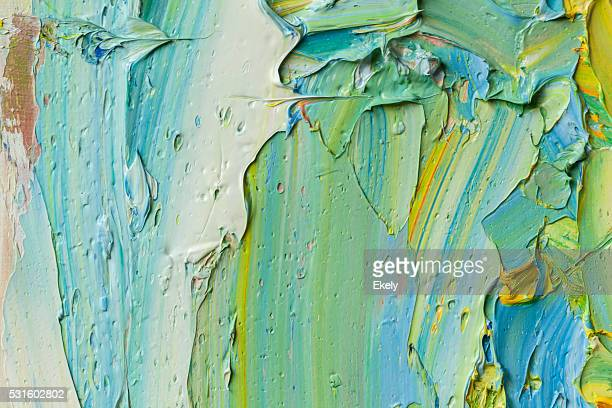 Abstract painted green yellow and blue art backgrounds.