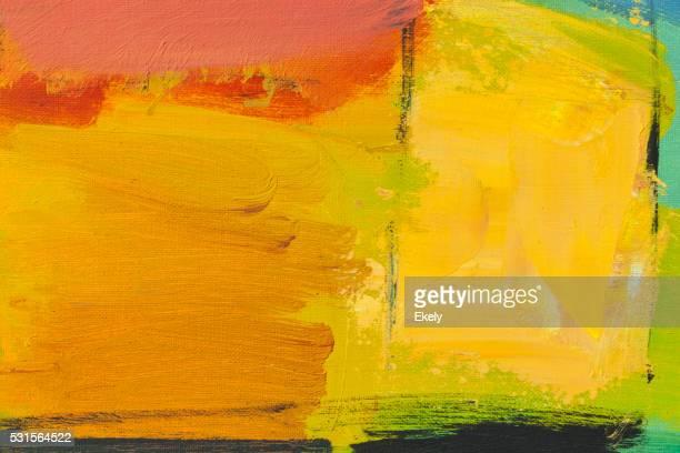 Dipinti astratto verde giallo e arancione arte di punta.