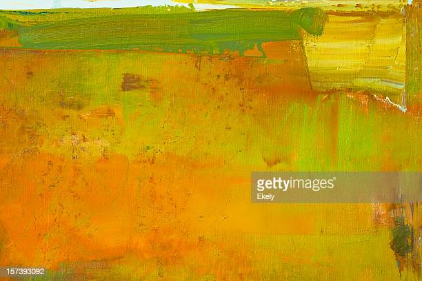 Abstract painted orange and greenart backgrounds.