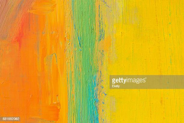 Abstract painted orange green and yellow art backgrounds.