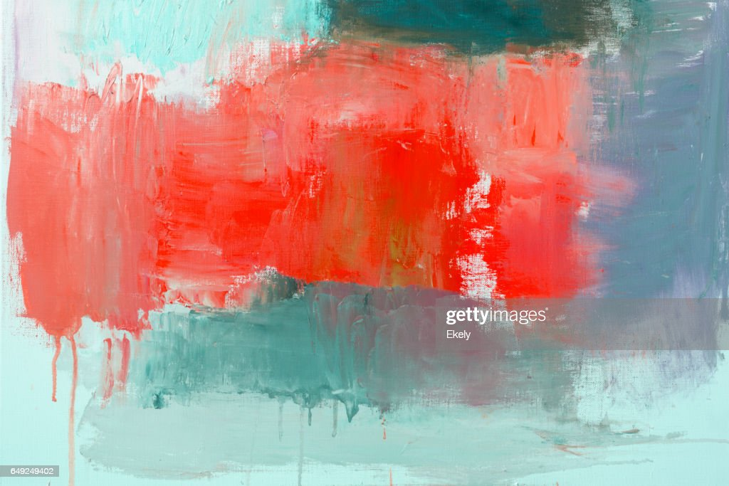 Origines de l'art abstrait peint rouge et vert : Photo