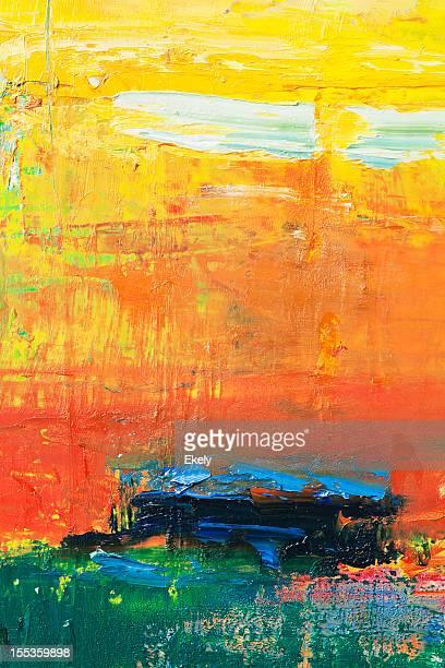 Astratto di verniciato di rosso, giallo e verde sfondi di arte.