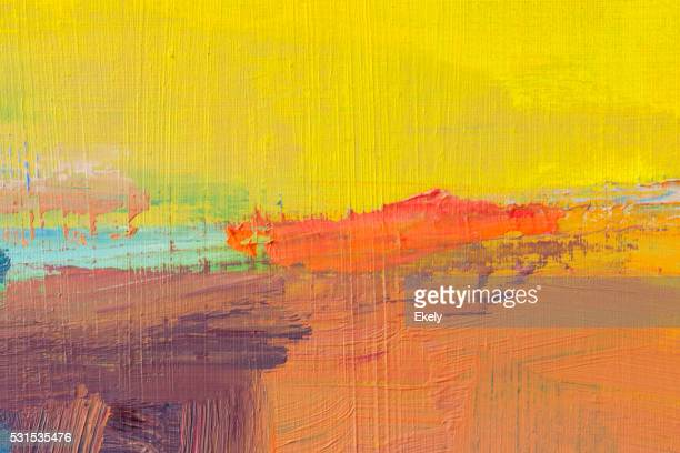 Abstract painted yellow and orange art backgrounds.