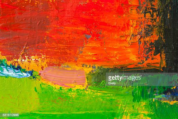 Abstract painted yellow green and red art backgrounds.