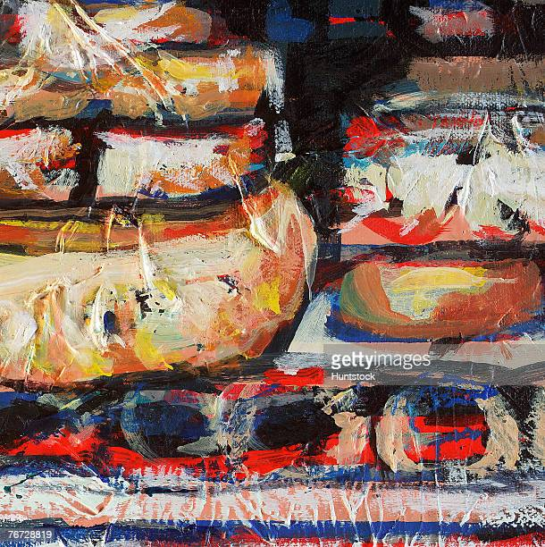Abstract painting of packaged food