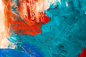 Colorful abstract painting in red white and blue acrylic colors