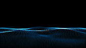 Abstract blue particles futuristic ambience with strong depht of field isolated on black