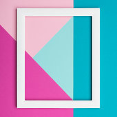 Abstract pastel colored paper texture minimalism background. Minimal geometric shapes and lines composition with empty picture frame.
