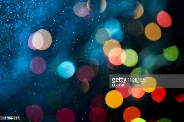 Abstract patern with water spray and defocused lights