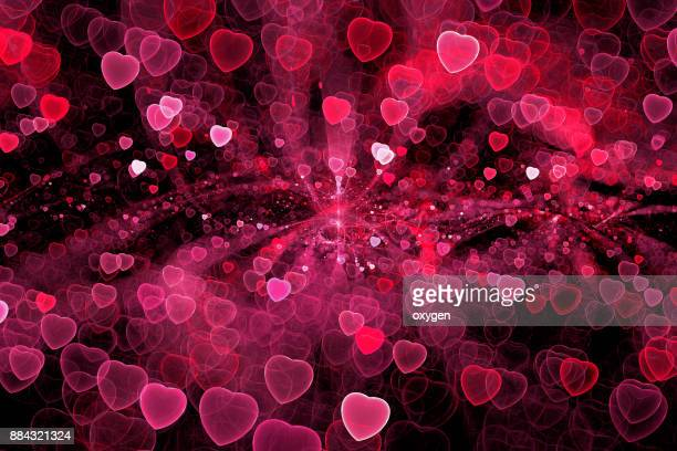 Abstract red heart bokeh sparkling spray circle