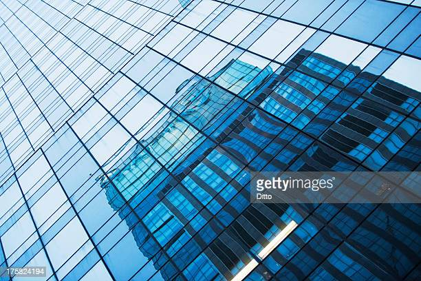 Abstract reflection, modern office buildings