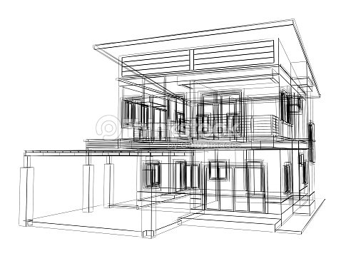 Croquis abstrait design de maison photo thinkstock for Dessin de maison moderne