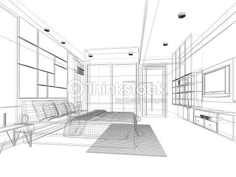 croquis abstrait design dint rieur chambre coucher photo thinkstock. Black Bedroom Furniture Sets. Home Design Ideas