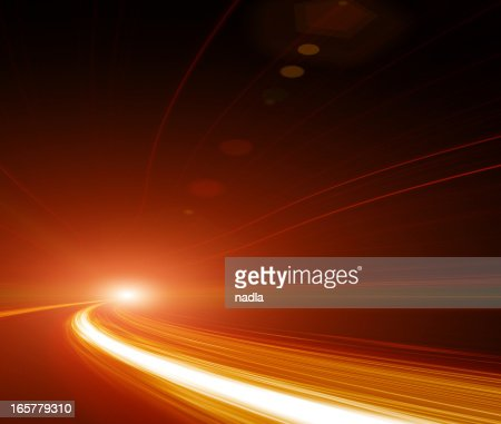 Abstract Speed motion in highway tunnel : Stock Photo