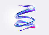 3D Abstract Spiral Brush Stroke. Trendy Colorful Paint Splash. Liquid Ribbon. Wave in Motion on Isolated Background. Pink, Blue, Purple Color Ink. Design for Wallpaper, Advertising, Banner, Poster.