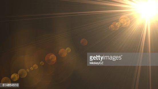 Abstract sun rays on black background : Stock Photo