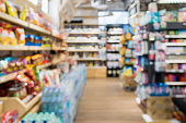 Abstract Supermarket aisle blur background