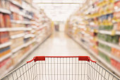 Abstract Supermarket aisle with empty shopping cart