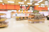 Abstract supermarket grocery store blurred defocused background with bokeh light