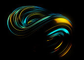 Abstract Trendy Wallpaper. Futuristic 3D Object with Dynamic Waves and Neon Lights. Colorful Stream. Geometric Lines in Motion, Smooth Gradients. Digital Wallpaper for Phone or Laptop Display.