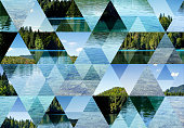 Abstract triangle mosaic background: Fusine Lake