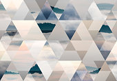 Abstract triangle shaped background: Hill in a sea of fog
