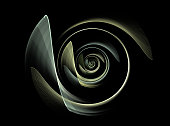 Computer generated image of abstract turbine. Digital illustration. Fractal Spiral pattern. Technological background. Turbine blades.