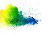 Abstract vibrant color powder explosion on white background.  Freeze motion of  dust  particles splashing. Painted Holi in festival.