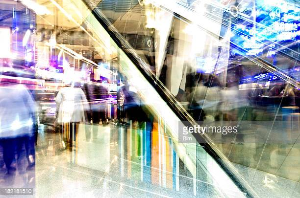 Abstract View of Interior with Escalator and Blurred People