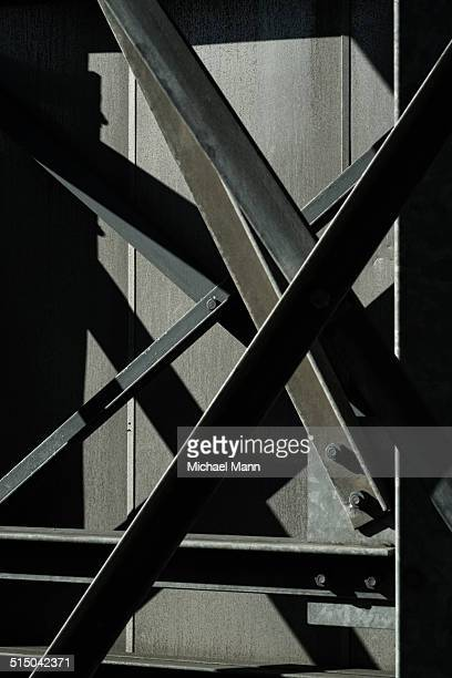 Abstract view of steel beams on rear of bridge