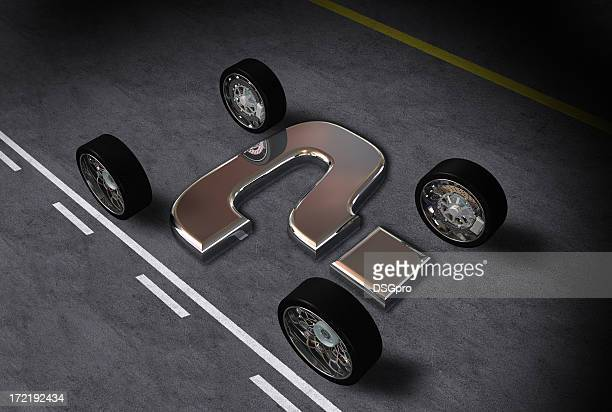 Abstract wheels with metal question mark