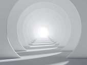 Abstract white round tunnel interior with perspective effect and shadows pattern, modern background wallpaper. 3d render illustration