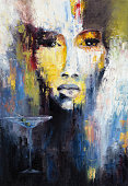 Abstract painting of a woman and martini cocktail on canvas.Modern Impressionism, modernism,marinism