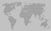 Abstract world map of dots / circles with long shadow on gray background. Illustration