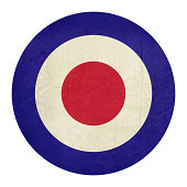 'Abstrt grunge British Royal Air Force roundel, also used as symbol of mod music.'
