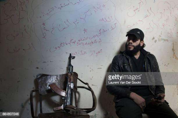 Abu Arab commander of Seodna Yussef Al Saddek near the frontline with Syrian government forces who have deployed chemical weapons here in recent days
