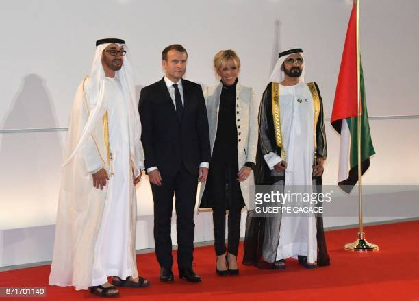 Abu Dhabi Crown Prince Mohammed bin Zayed AlNahyan French President Emmanuel Macron his wife Brigitte Macron and Ruler of Dubai Sheikh Mohammed bin...