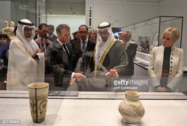 Abu Dhabi Crown Prince Mohammed bin Zayed AlNahyan French President Emmanuel Macron Chairman of Abu Dhabi's Tourism and Culture Authority Mohamad...