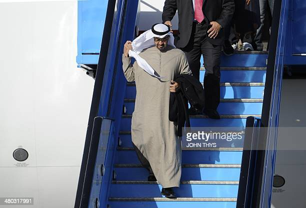 Abu Dhabi crown prince President Khalifa bin Zayid alNahyan arrives at Schiphol airport in Amsterdam on March 24 2014 ahead of the March 2425 Nuclear...