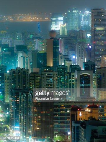 Abu Dhabi downtown by night