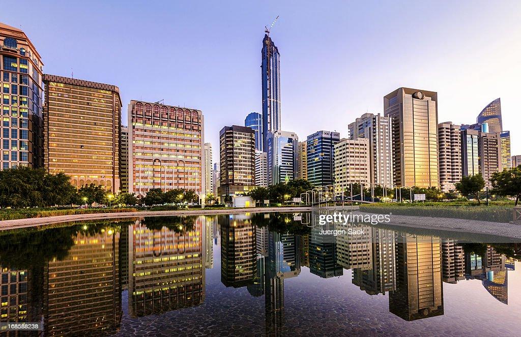 Abu Dhabi Downtown Skyline and Corniche Reflections