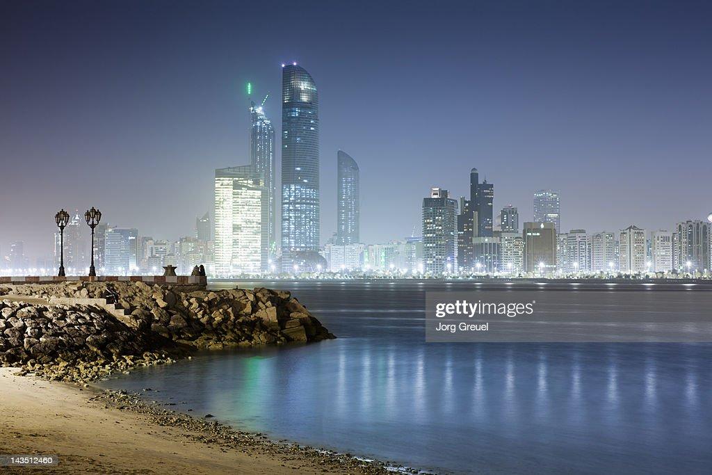 Abu Dhabi skyline at night, view from Breakwater