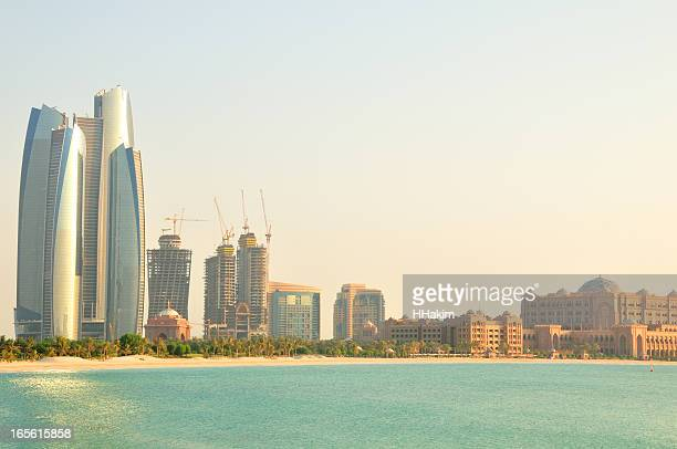 Abu Dhabi skyline during day with tall buildings