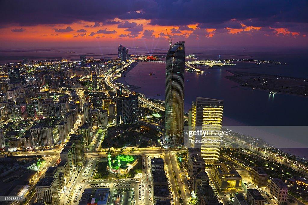 Abu Dhabi's skyline at dusk