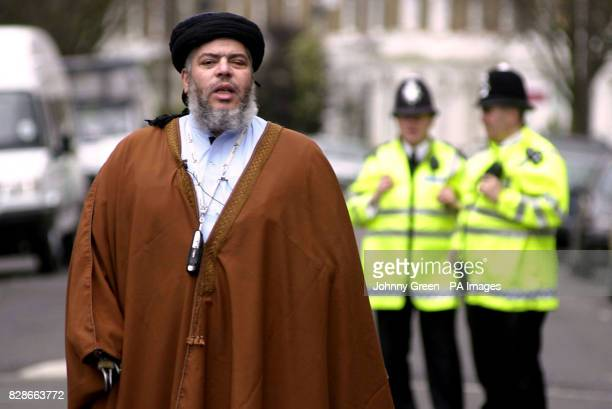 Abu Hamza addresses an audience of more than a 100 muslims during lunchtime prayers outside Finsbury Park Mosque north London The radical cleric will...