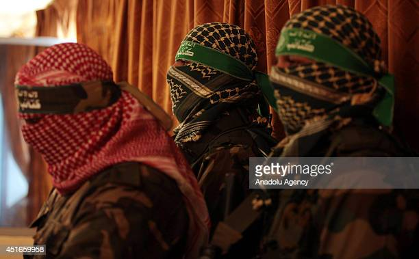 Abu Obeida spokesman of alQassam Brigade the military wing of Hamas movement speaks during a press conference in Gaza City on July 03 2014 Last night...